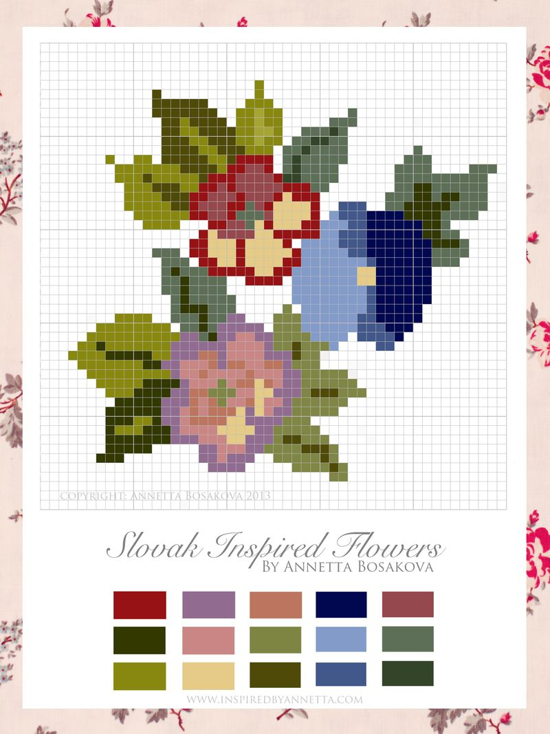 Free Slovak  Inspired Cross Stitch Chart - Annetta Bosakova