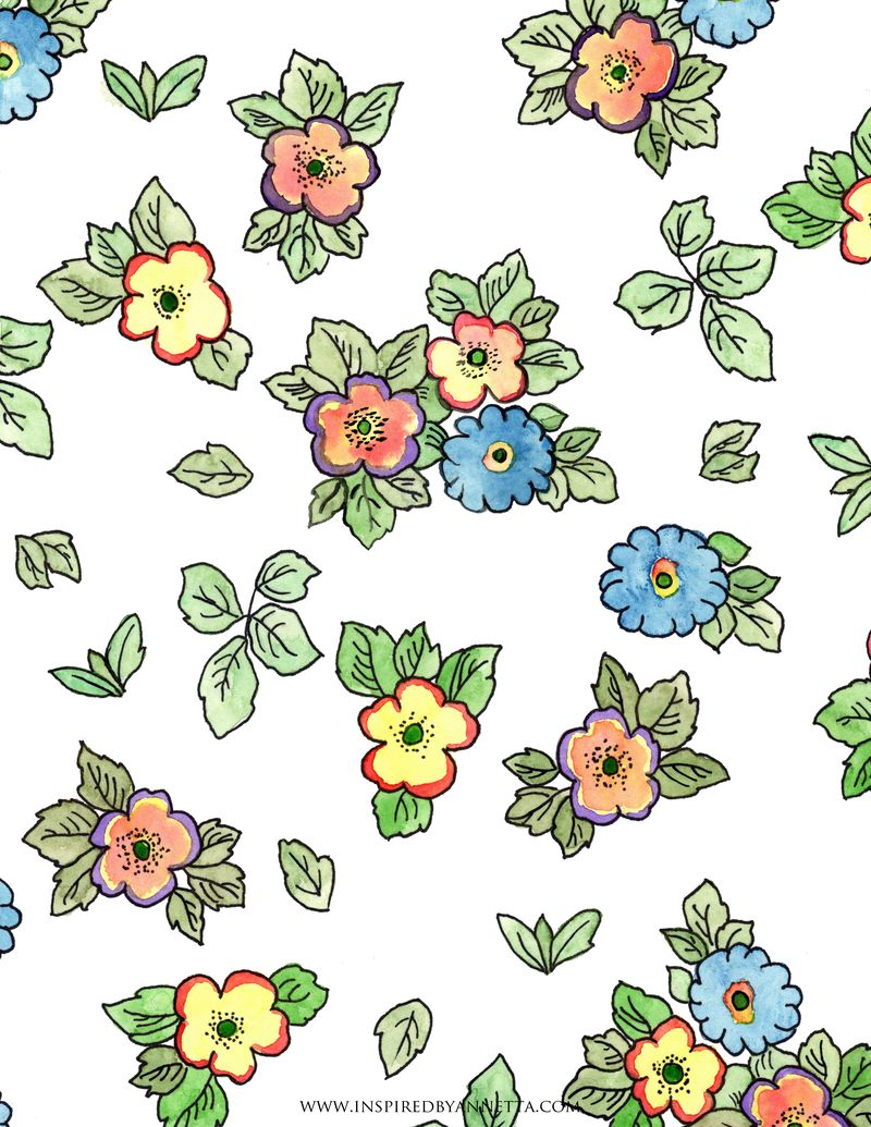 Slovak Floral Watercolor Pattern